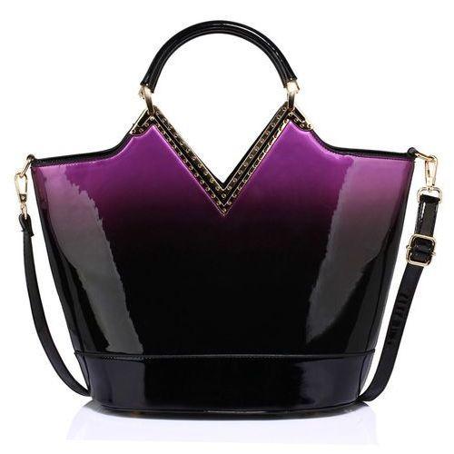 Lakierowana torebka cieniowana czarna z fioletem - czarny ||fioletowy