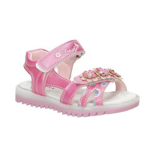 Sandały z kwiatkiem na rzepy  3sd508 marki Casu
