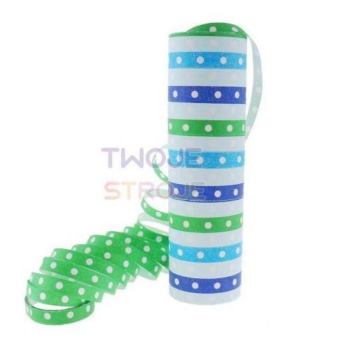 Twojestroje.pl Serpentyna papierowa groszki i paski niebiesko-zielone (5901238688372)