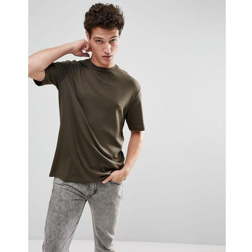 + oversized t-shirt with drop shoulder sleeve - green marki Selected homme