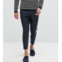 Noak Tapered Cropped Trouser in Texture - Navy, kolor szary
