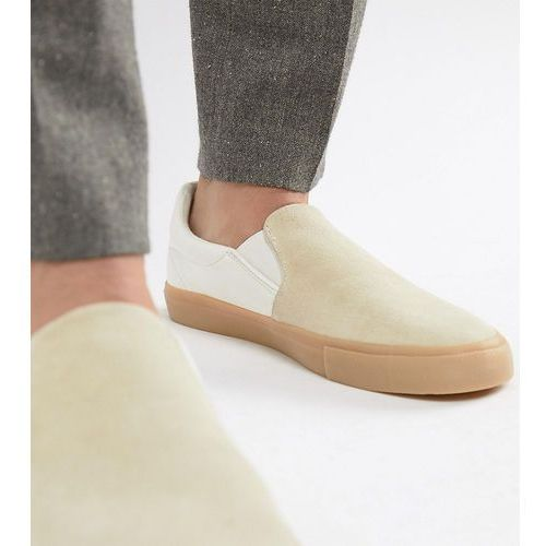 design wide fit slip on plimsolls in real stone suede - stone marki Asos