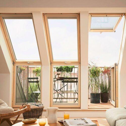 Okno dachowe balkonowe VELUX GEL 2065G M08 78x136 element górny białe