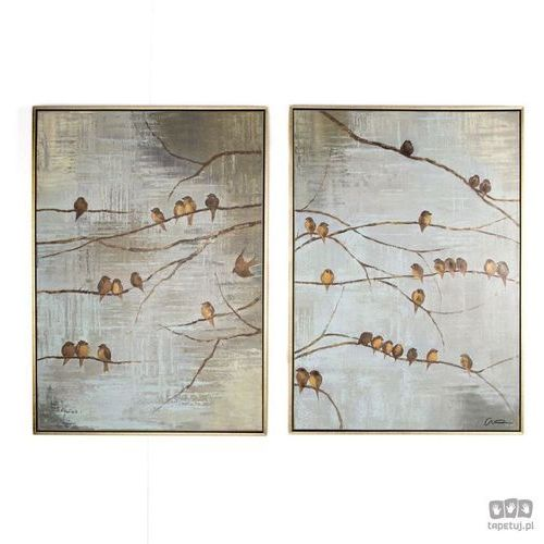 Obraz ręcznie malowany - Ptaki na gałęzi 102413, 102413