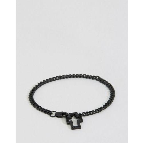 Icon Brand Hoop Lock Chain Bracelet In Black - Black, kolor czarny