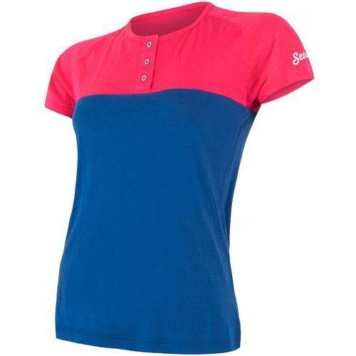 Sensor t-shirt damski z guzikami Merino Air PT magenta-niebieski M