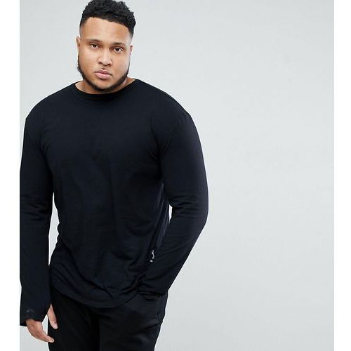 Religion plus long sleeve t-shirt in black with curved hem - black