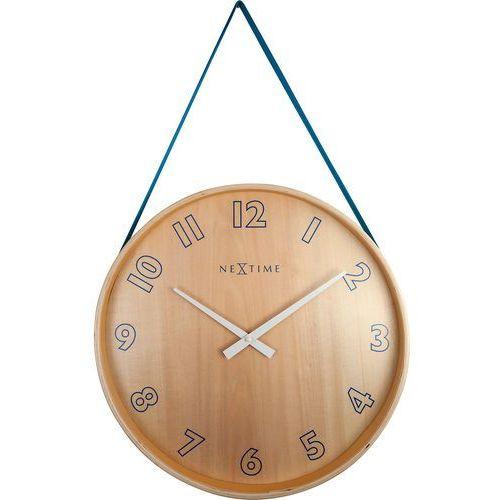 Zegar na ścianę wiszący na taśmie Loop Big Nextime niebieski (3234 BL), kolor niebieski