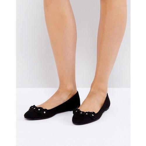 London rebel flower trim slipper shoes - black