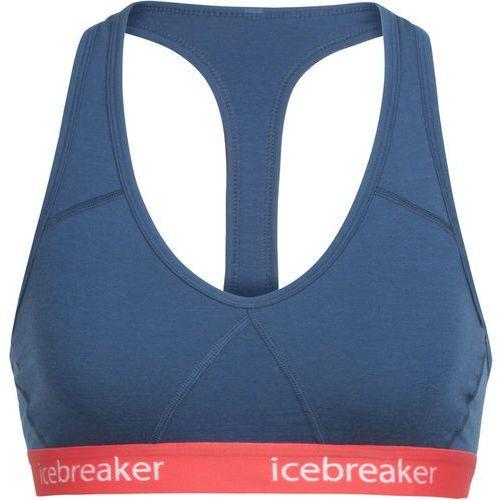 Icebreaker SPRITE RACERBACK BRA Biustonosz sportowy prussian blue/poppy red, kolor szary