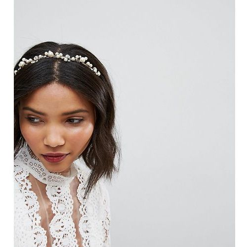 Loverocks london pearl & rhinestone cluster headband - gold