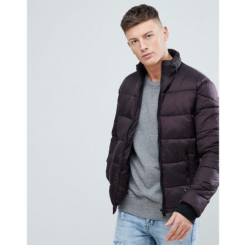 puffer jacket with concealed hood in burgundy - red, New look