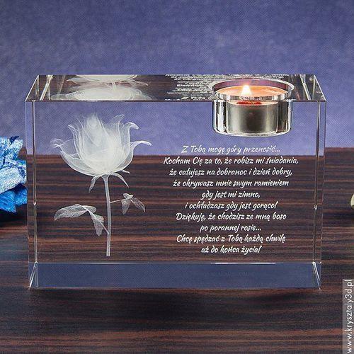RÓŻA 3D Kwiat Miłości ♥ duży świecznik • GRAWER 3D