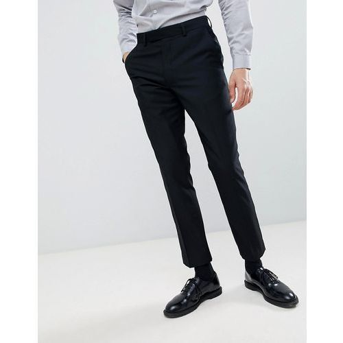 French connection slim fit peak collar tuxedo trousers - black