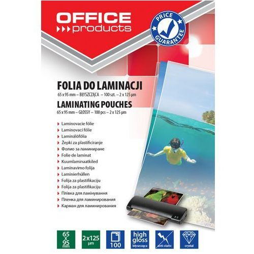Office products Folia do laminowania , 65x95mm, 2x125mikr., błyszcząca, 100szt., transparentna
