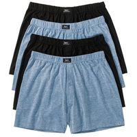 Luźniejsze bokserki (4 pary) bonprix niebieski dżins melanż + czarny