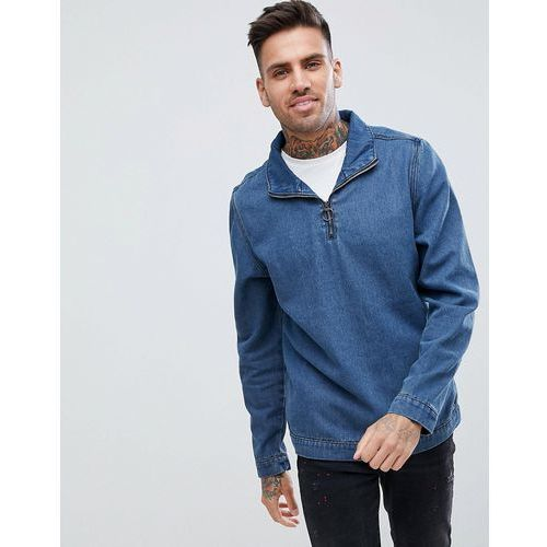 boohooMAN overhead denim jacket with half zip in blue wash - Blue