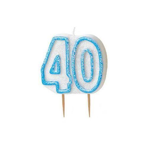 Brokatowa świeczka na 40-tke z niebieską obwódką - 1 szt. marki Unique