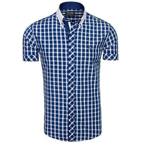 Granatowa koszula męska elegancka w kratę z krótkim rękawem Bolf 5531 - GRANATOWY, kolor niebieski