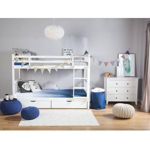 Łóżko piętrowe drewniane białe 90 x 200 cm REVIN (4260586356724)