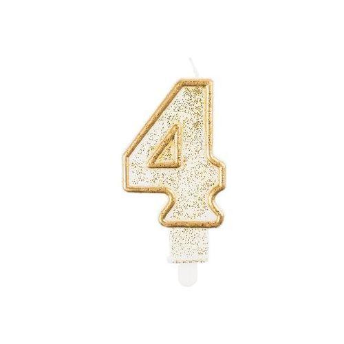 Go Świeczka cyferka ze złotą obwódką i brokatem - 4 - 1 szt.
