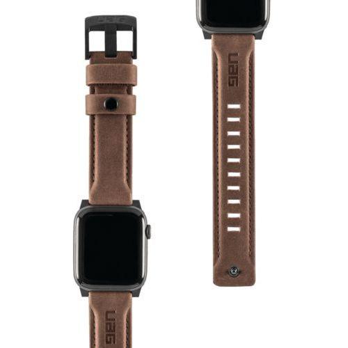 Urban Armor Gear UAG Leather Strap Skórzany Pasek do Apple Watch 44 mm / 42 mm (Brown), kolor brązowy
