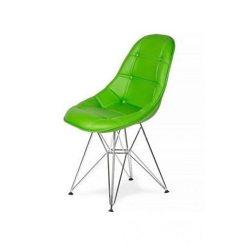 King home Krzesło eko silver żywa zieleń t8 - ekoskóra, podstawa metalowa chromowana