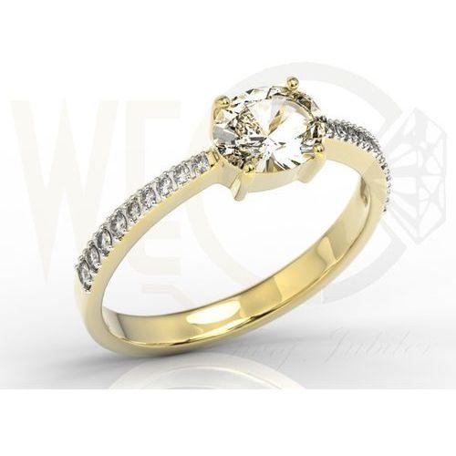 Pierścionek z żółtego złota z białym szafirem i diamentami BP-58Z-R - Sapphire white