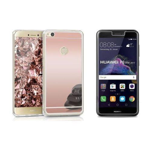 Zestaw   Slim Mirror Case Różowy   Etui + Szkło ochronne Perfect Glass dla modelu Huawei P8 Lite 2017 / P9 Lite 2017, kolor różowy