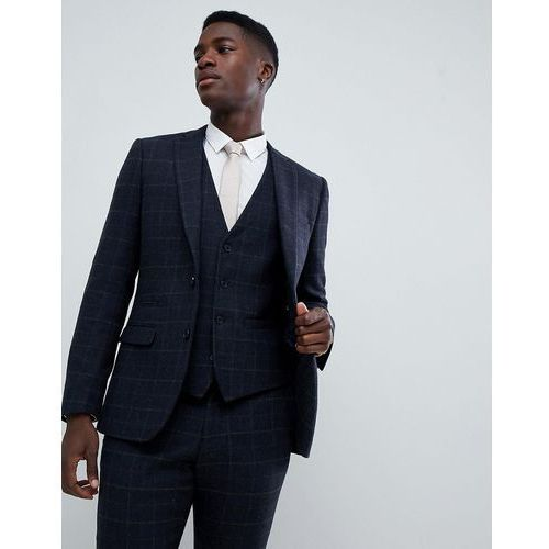 French connection tweed square slim fit heritage suit jacket - blue
