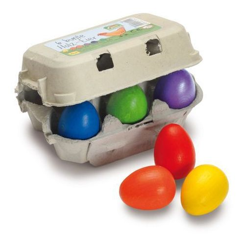 Drewniane jajka w kartonie kolorowe do zabawy w sklep 6 szt - zabawki dla dzieci