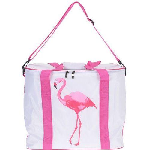 Termiczna torba turystyczna FLAMINGO, biało-różowa kolorystyka, 30 l, 41x26x33cm