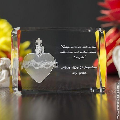 Gorejące Serce 3D • personalizowany kryształ 3D • Pamiątka Religijna
