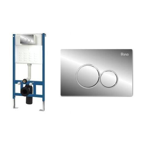 Stelaż podtynkowy wc zestaw z przyciskiem e chrom marki Rea