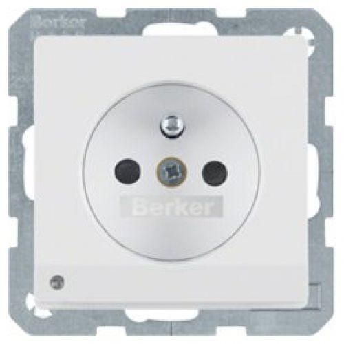 Berker q.1/q.3 gniazdo z uziemieniem i podświetleniem orientacyjnym led, biały, aksamit 6765106089