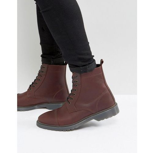lace up boots in burgundy leather with ribbed sole - red marki Asos