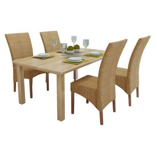 Vidaxl krzesła do jadalni z abaki, brązowe 4 szt.