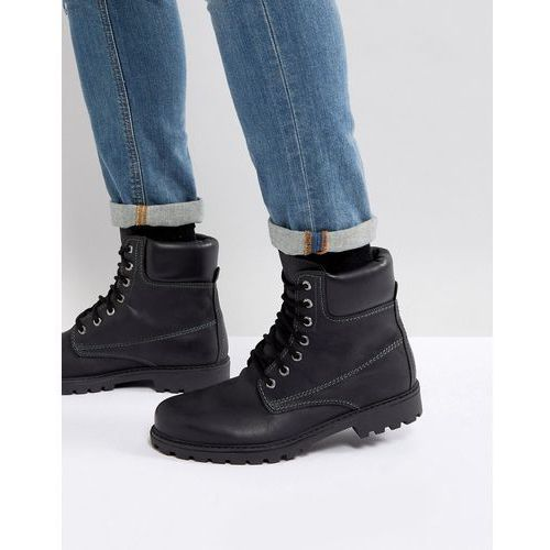 leather chunky boots in black - black, Pier one