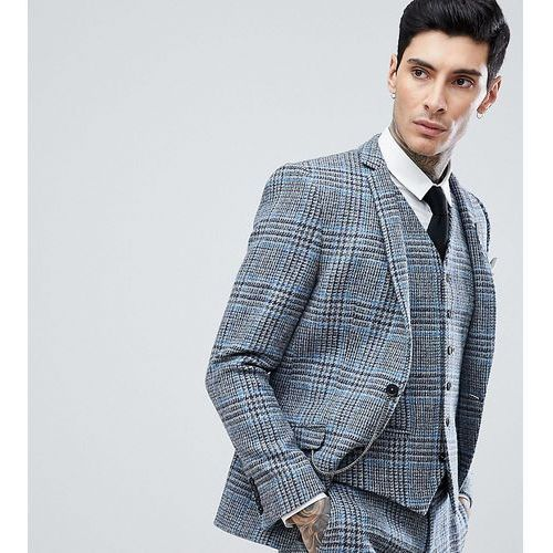 skinny suit jacket in harris tweed in check - grey marki Heart & dagger
