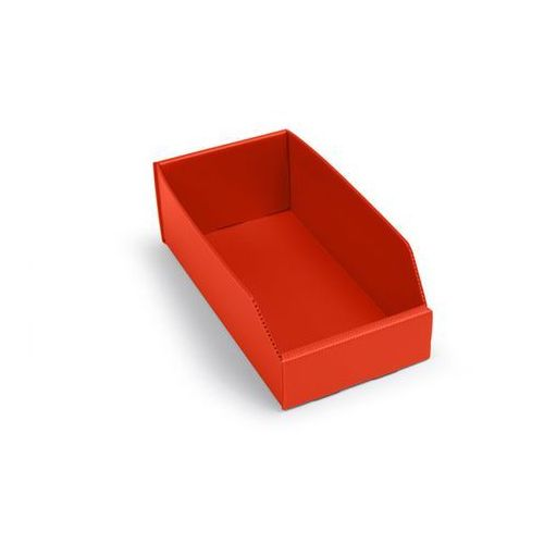 K bins limited Skrzynki regałowe z tworzywa, składane, dł. x szer. x wys. 300x150x100 mm, czerw