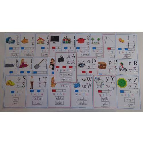 Bystra sowa Alfabet obrazkowo-słowny - karty edukacyjne wersja 4 szkolny z kierunkiem pisania