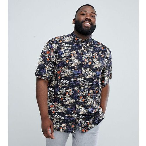 D-Struct PLUS Tropical Print Short Sleeve Shirt - Black, 1 rozmiar