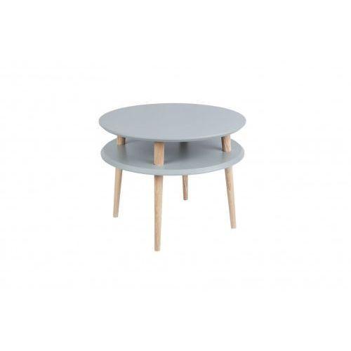 Stolik kawowy do małego salonu drewniany ufo średni - kolor ciemnoszary/ kolor nóg naturalny buk marki Ragaba