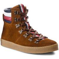 Kozaki TOMMY HILFIGER - Crepe Outsole Hiking Hybrid Boot FM0FM01918 Cognac 606, kolor brązowy