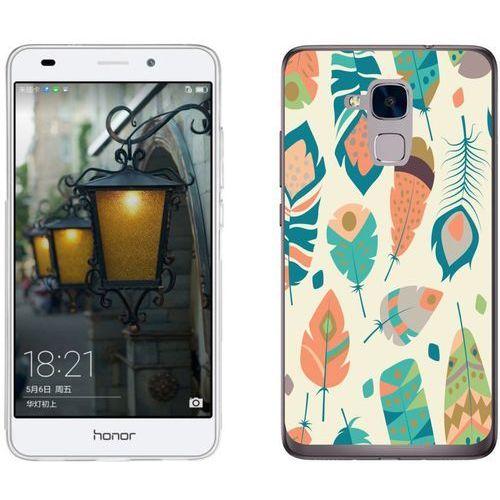 Huawei Honor 7 Lite - etui na telefon - Kolekcja boho - piórka na beżowym tle - J16