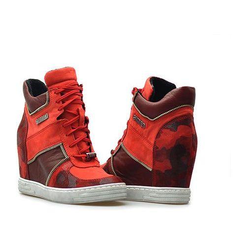 Simen Sneakersy 0384 czerwone/bordowe lico + nubuk