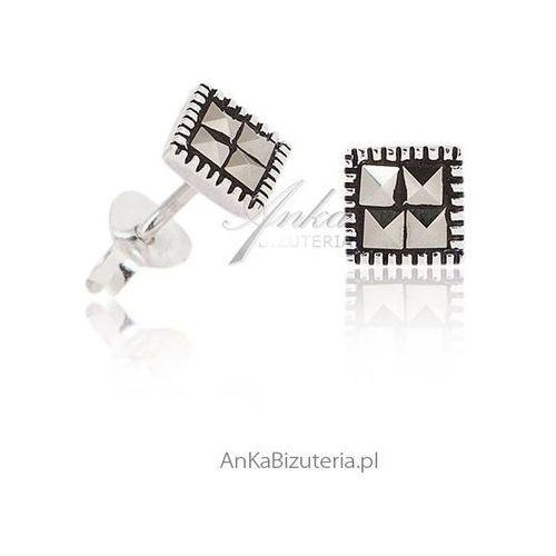 Subtelne kolczyki srebrne z markazytami. biżuteria srebrna z markazytami marki Anka biżuteria