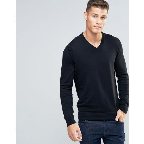 BOSS Orange by Hugo Boss Albino Vneck Jumper Merino Blend - Black, kup u jednego z partnerów