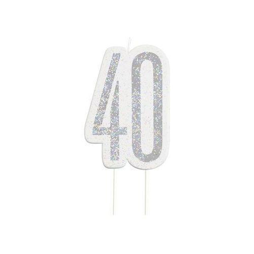 Brokatowa srebrna świeczka na 40-tke - 1 szt. marki Unique