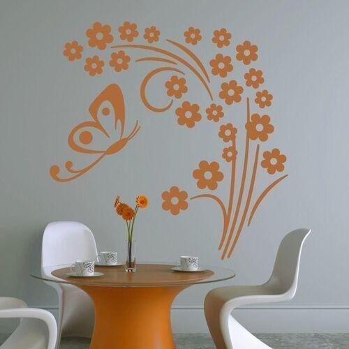 Wally - piękno dekoracji Naklejka kwiatki motyl 1316